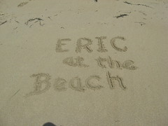 Eric at the beach in the sand