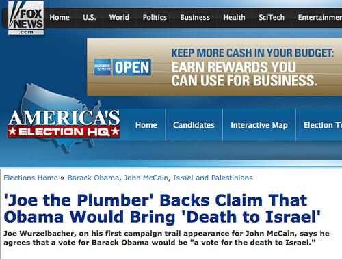 fox news loves joe the plumber hates israel