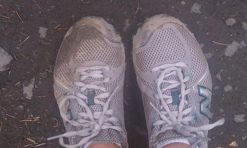 Muddy post-run shoes