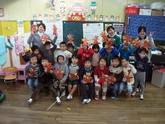 Kindergarteners with their turkeys