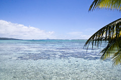 View of Bora-Bora from Vahine Private Island, ...
