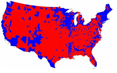 Mapa eleitoral Americano - 2008 - por condados