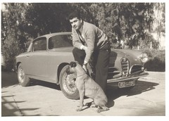 Dad, his dog Roger, and his beloved Alfa Romeo, Beirut, c. 1959