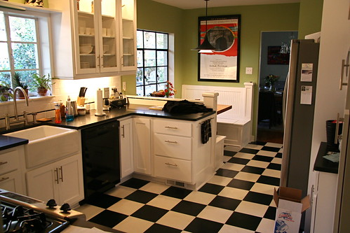 black and white tile kitchen refrigerators tiles hairstyle artist indonesia bright green against the gives a contemporary retro
