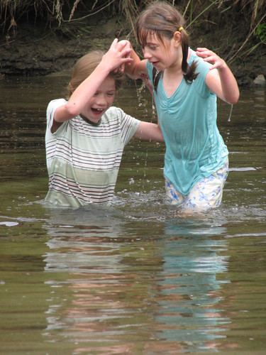 Elizabeth and Dorothy at creek