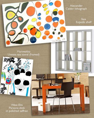 Living room design board.