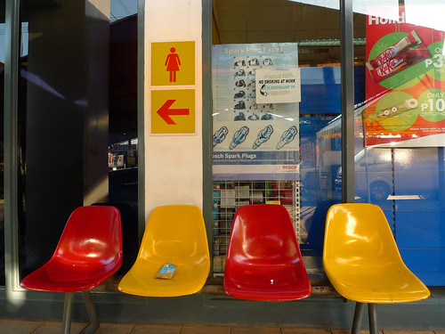 red and yellow plastic chairs