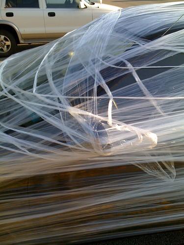 Car in Plastic Wrap