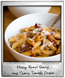 Mushy Roast Garlic and Cherry Tomato Penne