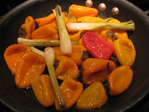 Roasted Bell Peppers and Scallions in Balsamic