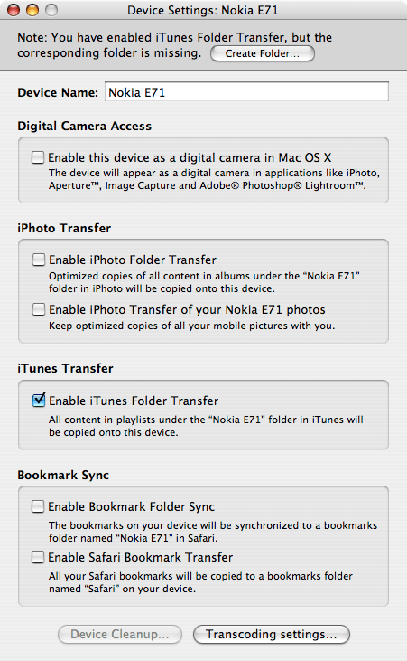 Nokia Multimedia Transfer Interface