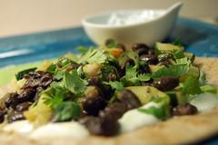 Open face black bean and zucchini quesadilla