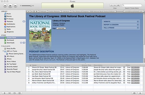 Screenshot of the Library of Congress National Book Festival Podcast in iTunes