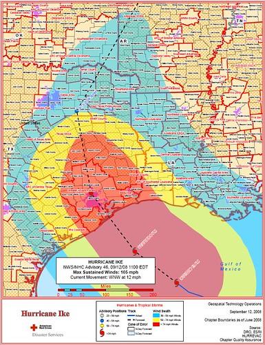 Hurricane Ike Storm Path 9.12.2008 11 a.m.