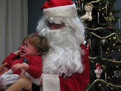 Santa and crying baby