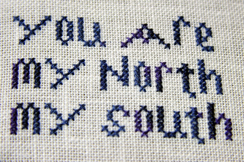 My Everything by The Sampler Girl. Stitched on 32ct antique white Belfast linen with DMC 4240.