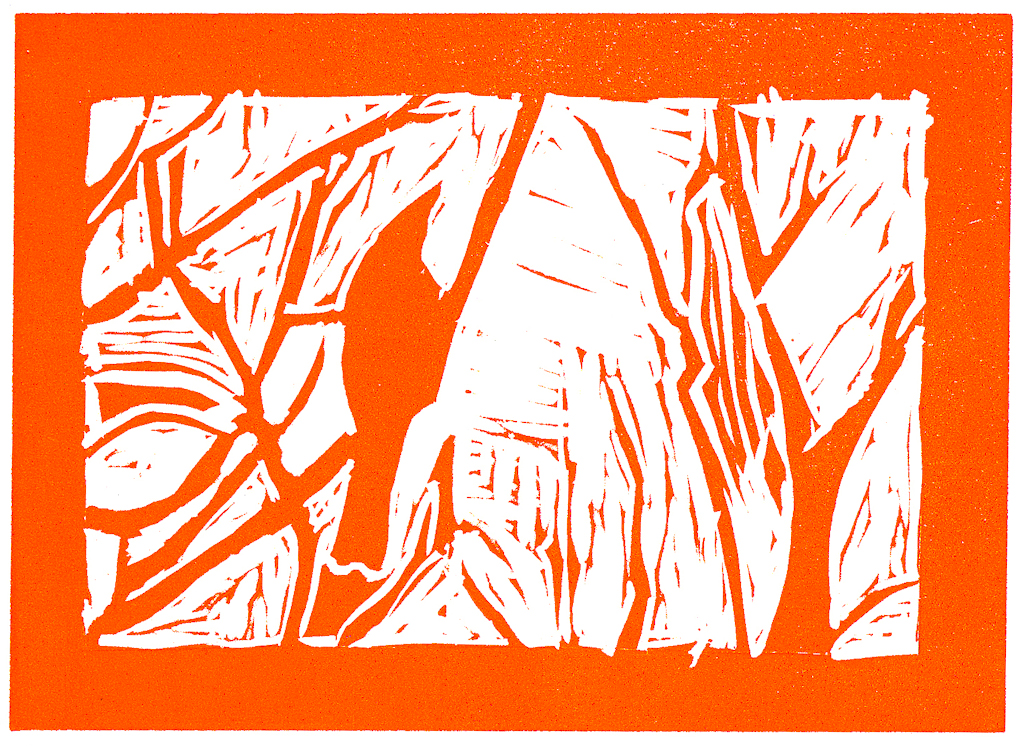 linocut: bird in tree: orange print