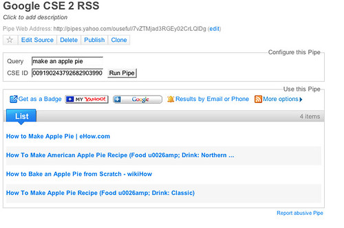Getting an RSS Feed Out of a Google Custom Search Engine