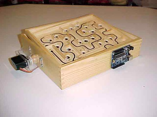 Back side of labyrinth game showing Arduino Decimilia