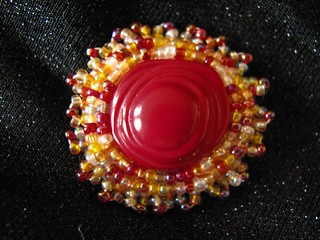 Brooch in Red and Yellow