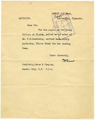 T.E. Lawrence acknowledges receipt ...