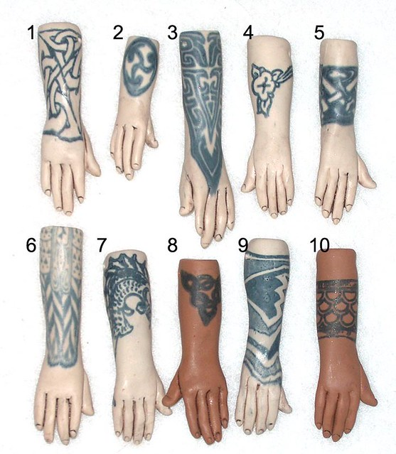 10 tattoo hands front. hand beads, each approximately 2 inches (more or
