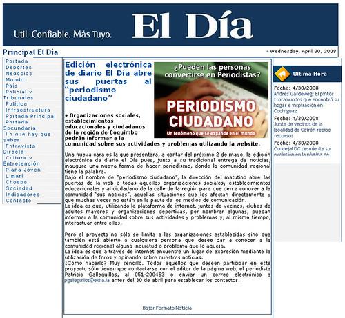 Diario EL D�a anuncia Periodismo Ciudadano - Screenshot