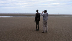 Paul photographing Antony Gormley's Another Place, Crosby Beach, Liverpool.