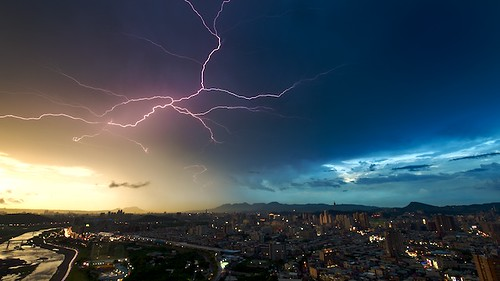 An electrical storm lingers over Taipei, Taiwan.  This photo was shot just before dusk, when it was still pretty light.  I had to shoot it at f/22 to be able to get a 3 second shutter speed.