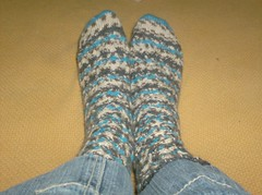 Woven Cable Eyelet Socks - Done