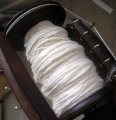 silky top (not sure of the exact composition - but nice long staple) spun on the wheel