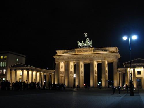 Brandenburg Gate at night.