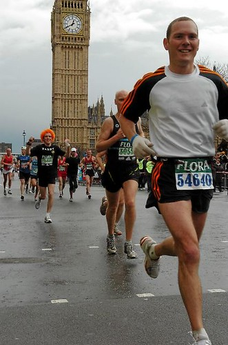 Mile 25 - Slipping by Big Ben, knowing I could hold on, wondering if good enough for Sub-3 hour finish.