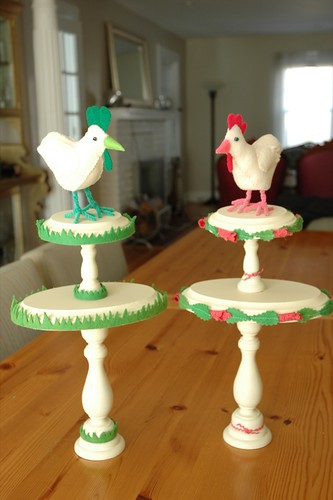 Stacked Springtime Pedestals with Perching Chickens