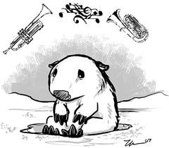 Sad wombat in Snow