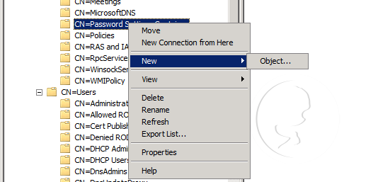 Password Settings Container - New Object