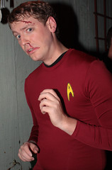 Red shirt knows what comes next