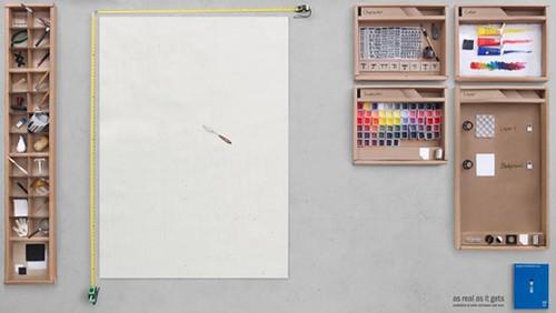 Adobe Photoshop simulatie met papier, liniaal, tekenmateriaal