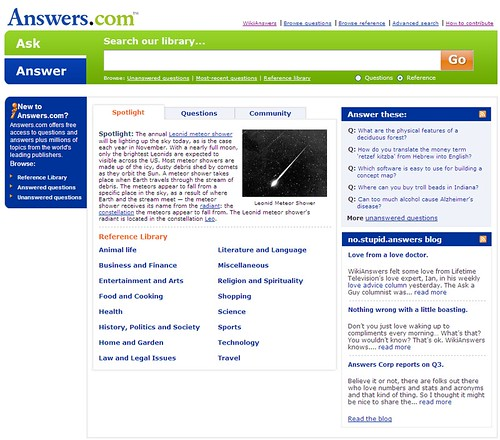 Answers.com homepage