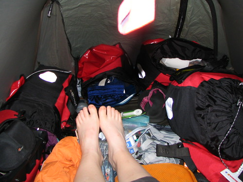 bags in tent