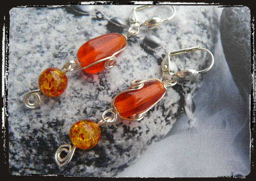Orecchini arancio - Orange earrings MEHGAAM