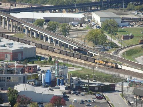 Long coal train approaching Union Stn Kansas City