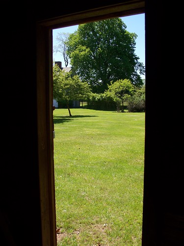 View thru tool shed door