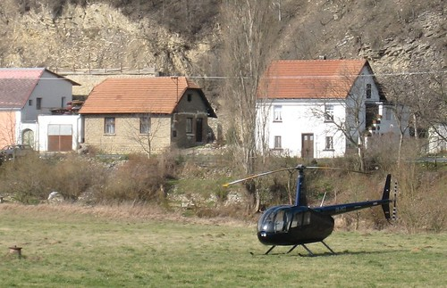 Helicopter ready to take off, Karlštejn