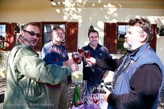 from left Hrvoje Oršanič, Jani Zakšek, Jelenič, Goran Rovan. A toast in Jelenič vineyard house. 20081005_9343