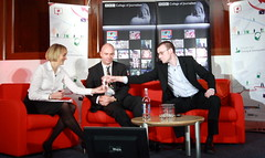 Louise Minchin, Pete Clifton and Paul Bradshaw at the BBC Future of Journalism conference