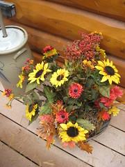 outdoor fall flower arrangement