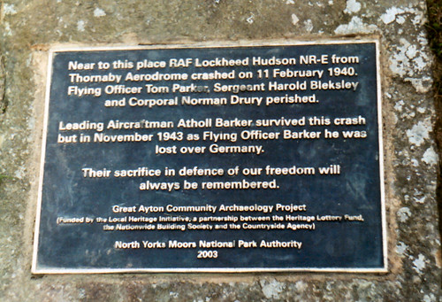 Captain Cooks Monument, Crashed Hudson Plaque