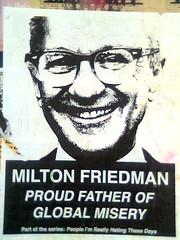 Milton Friedman pasteup on Valencia Street Wall