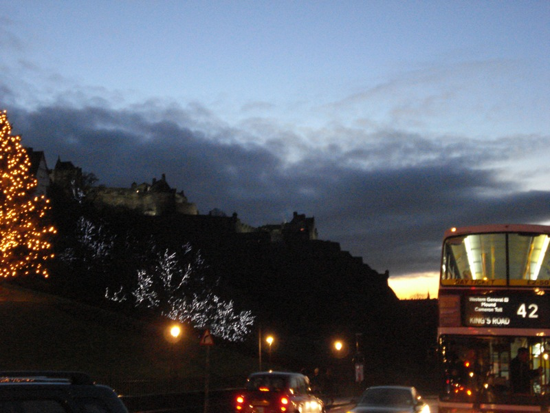 Castle in sunset, bus.